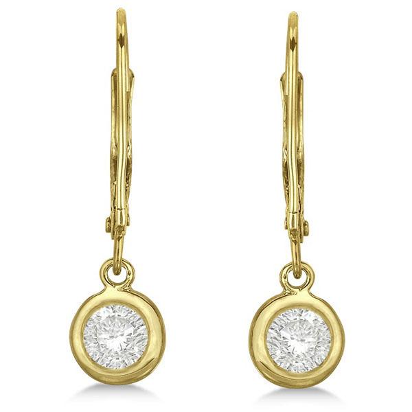 Leverback Dangling Drop Diamond Earrings 14k Yellow Gold (0.50ct)