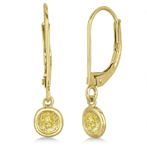 Leverback Dangling Drop Yellow Diamond Earrings 14k Yellow Gold (0.40ct)