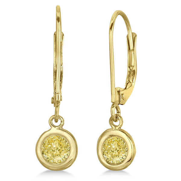 Leverback Dangling Drop Yellow Diamond Earrings 14k Yellow Gold (0.50ct)