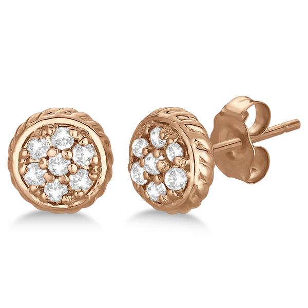 Round Cluster Diamond Earrings 14k Rose Gold (0.25ct)