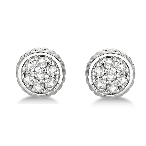 Round Cluster Diamond Earrings 14k White Gold (0.25ct)