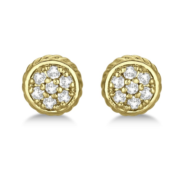 Round Cluster Diamond Earrings 14k Yellow Gold (0.25ct)