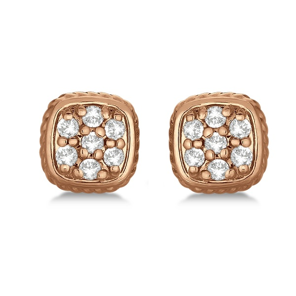 Square Diamond Cluster Earrings 14k Rose Gold (0.25ct)