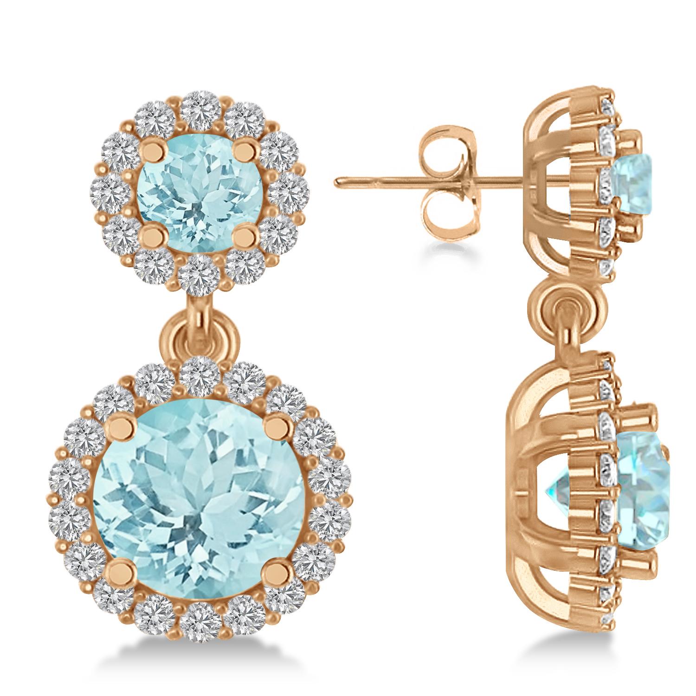 Two Stone Dangling Aquamarine & Diamond Earrings 14k Rose Gold (3.00ct)