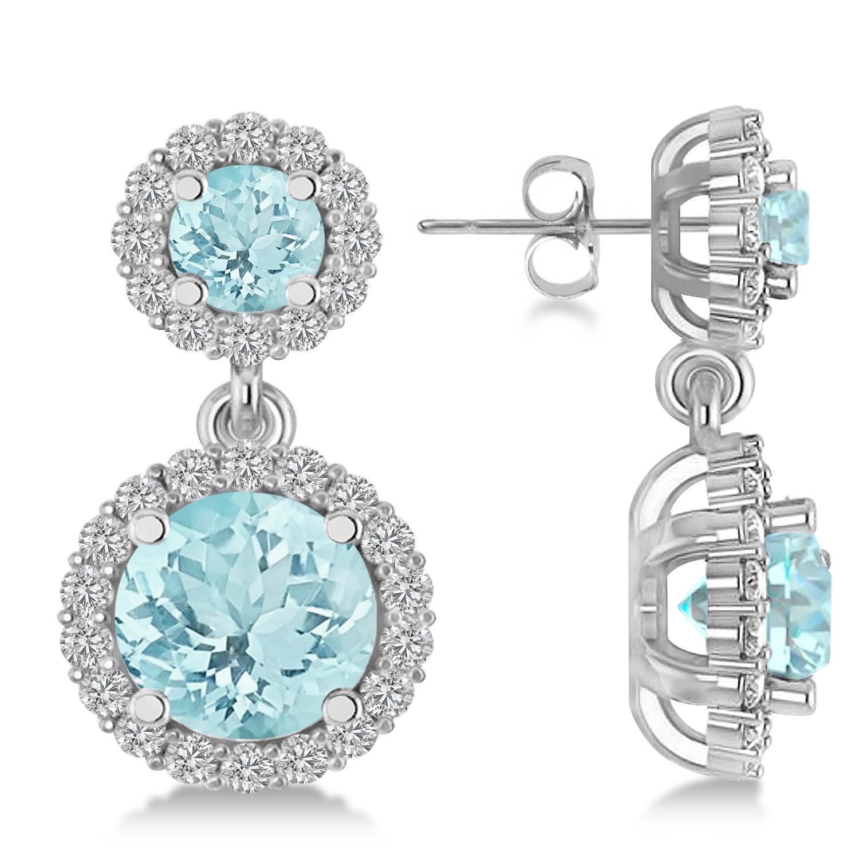 Two Stone Dangling Aquamarine & Diamond Earrinsg 14k White Gold (3.00ct)