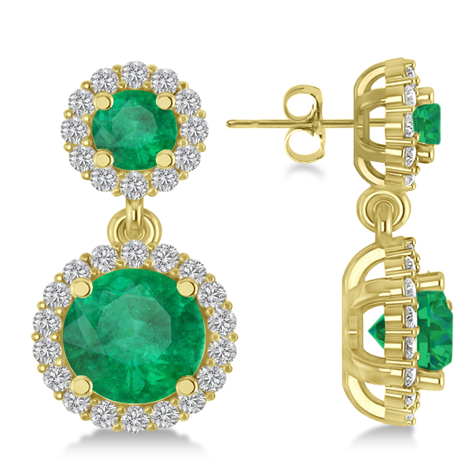 Two Stone Dangling Emerald & Diamond Earrings 14k Yellow Gold (3.00ct)