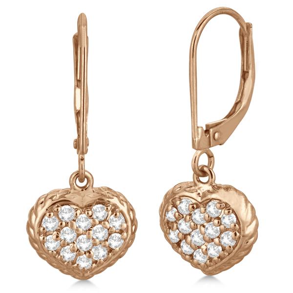 Lever Back Pave Diamond Heart Earrings 14K Rose Gold (0.50ct)