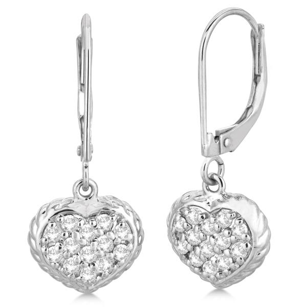 Lever Back Pave Diamond Heart Earrings 14K White Gold (0.50ct)