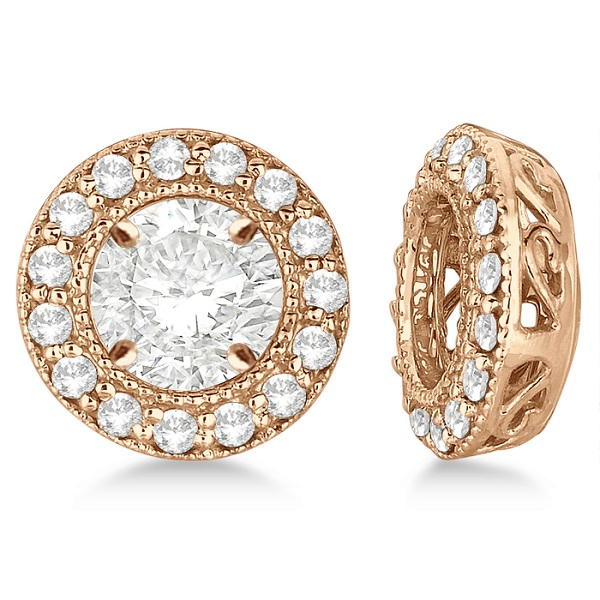 Vintage Round Cut Diamond Earring Jackets 14k Rose Gold (0.27ct)