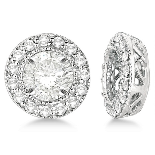 Vintage Round Cut Diamond Earring Jackets 14k White Gold (0.27ct)