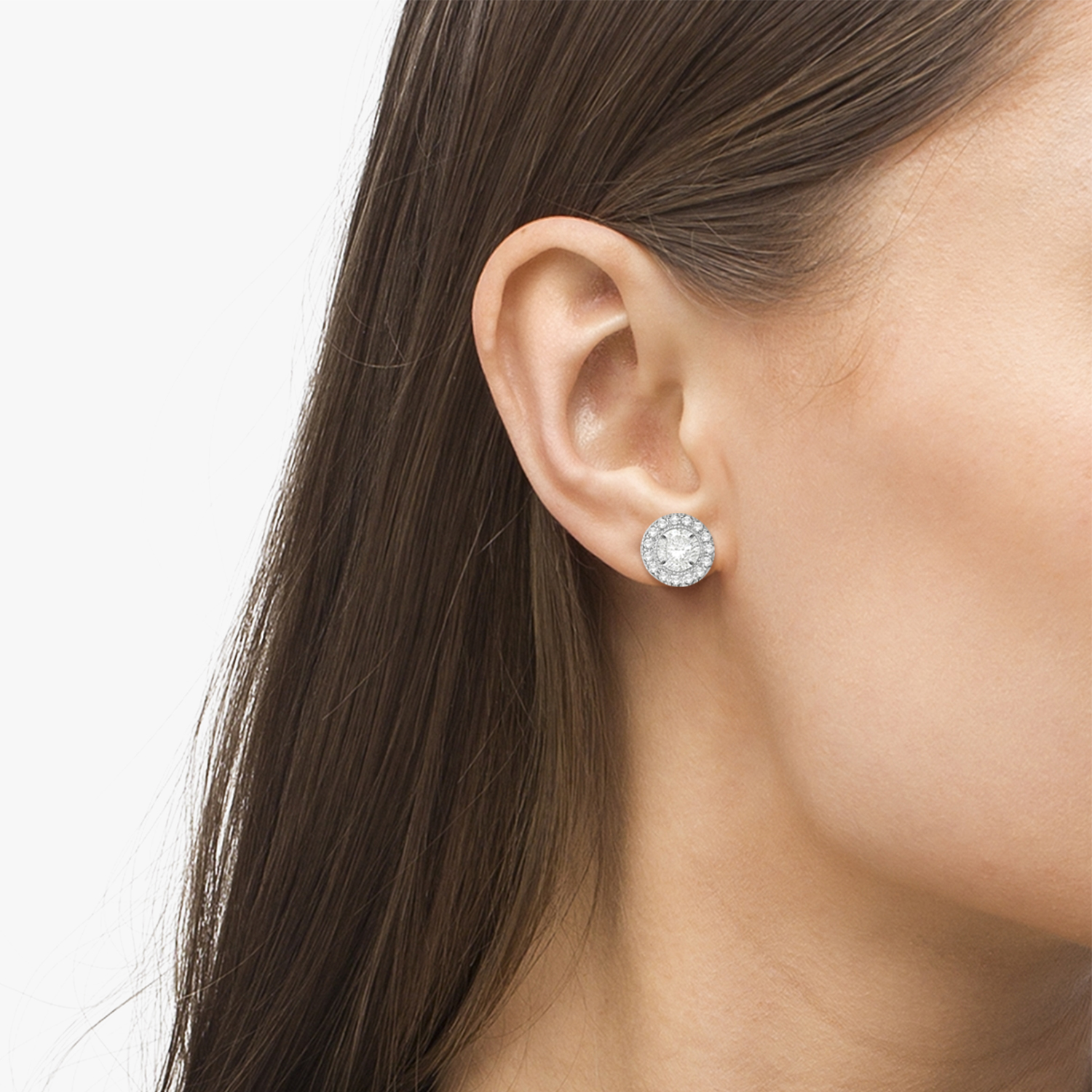 Vintage Round Cut Diamond Earring Jackets 14k White Gold (0.30ct)