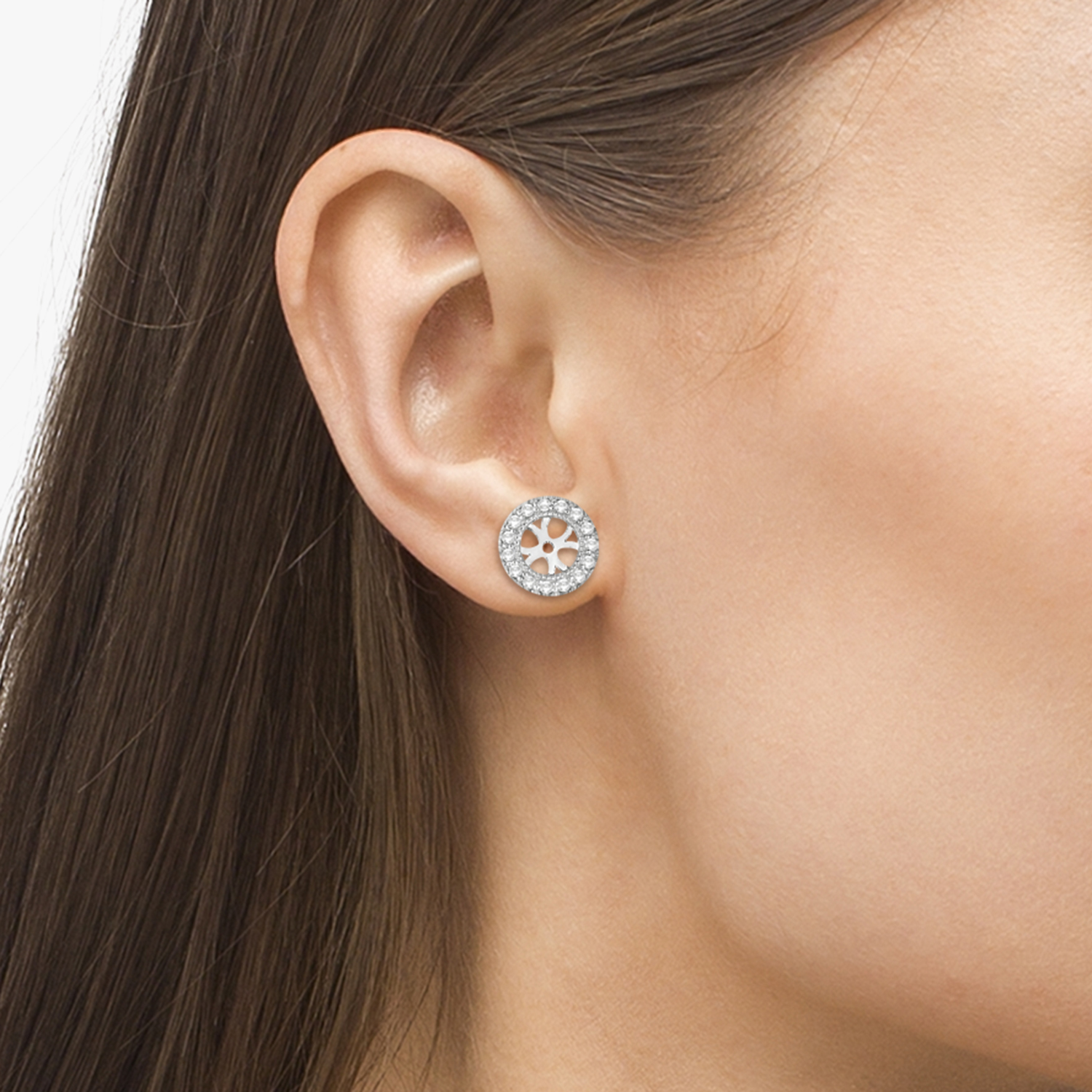 Vintage Round Cut Diamond Earring Jackets 14k White Gold (0.34ct)