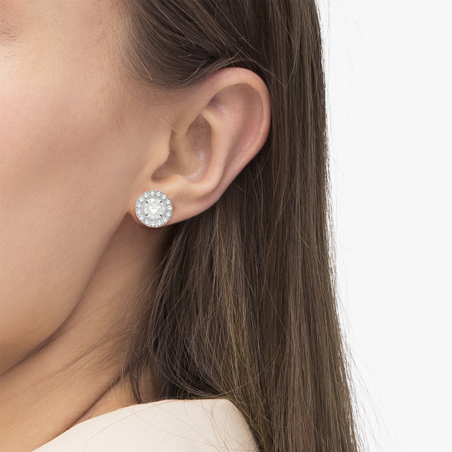 Vintage Round Cut Diamond Earring Jackets 14k White Gold (0.40ct)