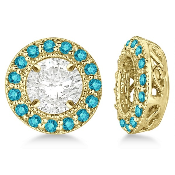 Vintage Fancy Blue Diamond Earring Jackets 14k Yellow Gold (0.27ct)