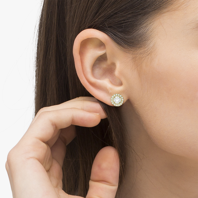 Vintage Round Cut Diamond Earring Jackets 14k Yellow Gold (0.22ct)
