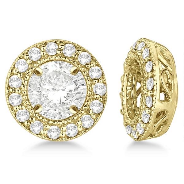 Vintage Round Cut Diamond Earring Jackets 14k Yellow Gold (0.27ct)