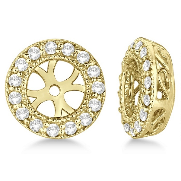 Vintage Round Cut Diamond Earring Jackets 14k Yellow Gold (0.30ct)