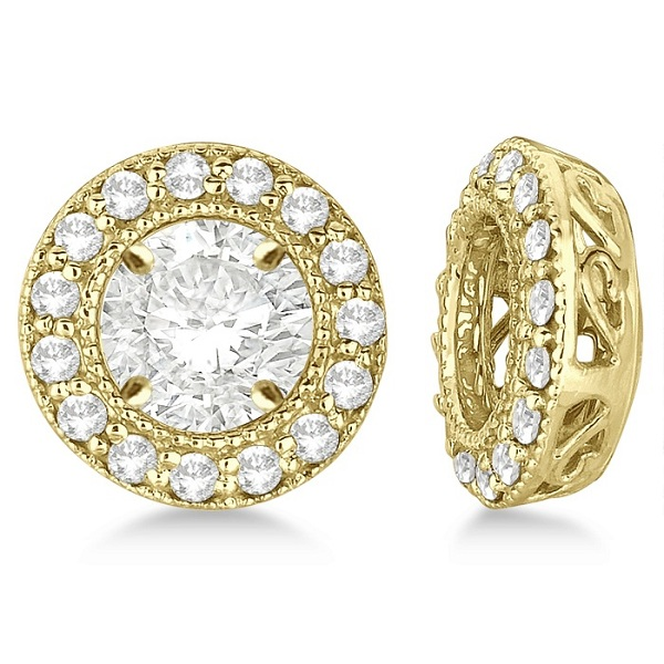 Vintage Round Cut Diamond Earring Jackets 14k Yellow Gold (0.34ct)