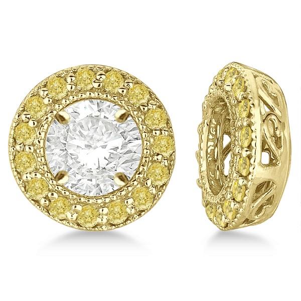 Vintage Fancy Yellow Diamond Earring Jackets 14k Yellow Gold (0.30ct)