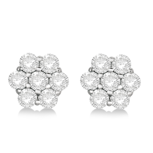 Flower Shaped Diamond Cluster Stud Earrings 14K White Gold (1.01ct)