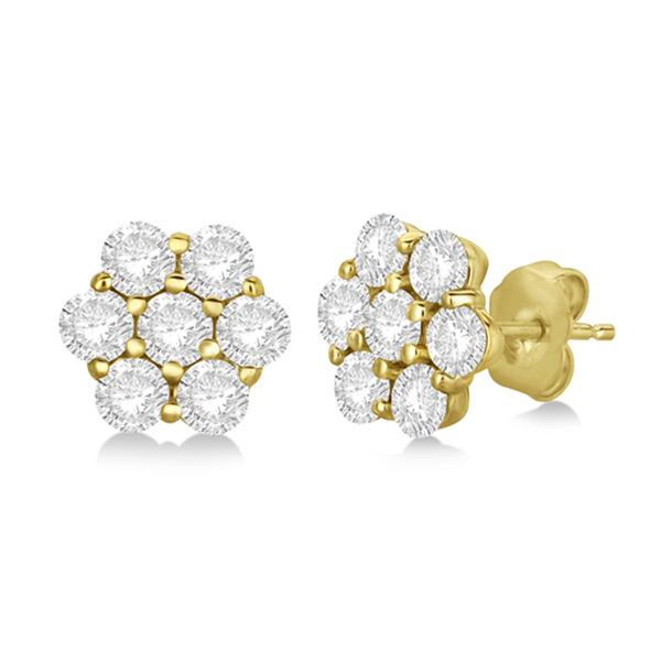 Flower Shaped Diamond Cluster Stud Earrings 14K Yellow Gold (1.01ct)