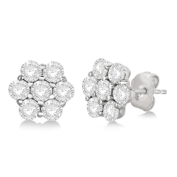 Flower Shaped Diamond Cluster Stud Earrings 14K White Gold (2.80ct)