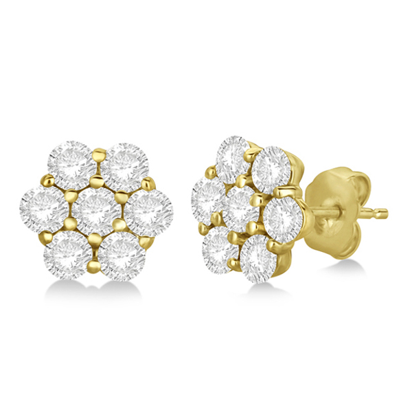 Flower Shaped Diamond Cluster Stud Earrings 14K Yellow Gold (2.80ct)
