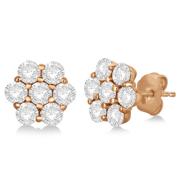 Flower Shaped Diamond Cluster Stud Earrings 14K Rose Gold (3.50ct)