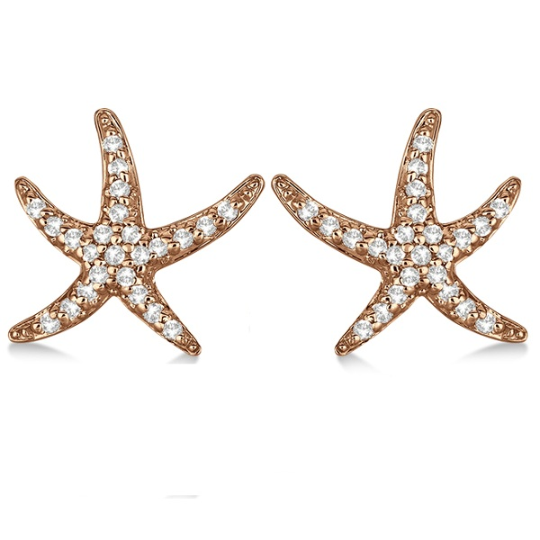 Diamond Starfish Earrings 14k Rose Gold (0.50ct)