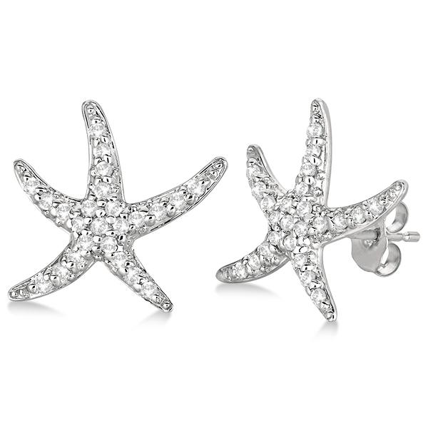 Diamond Starfish Earrings 14k White Gold (0.50ct)