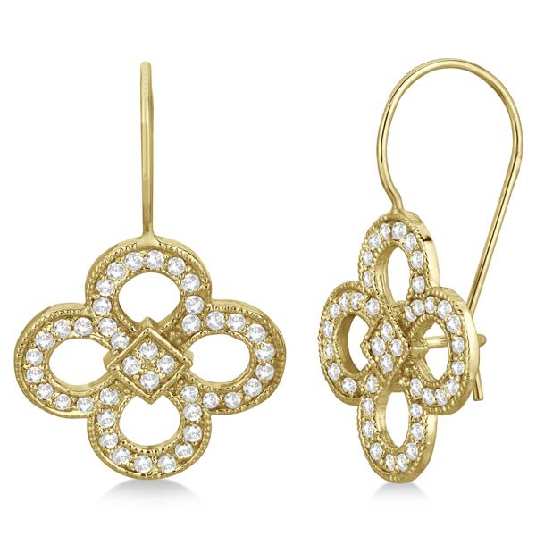 Four Leaf Clover Flower Diamond Earrings 14K Yellow Gold (0.67ct)