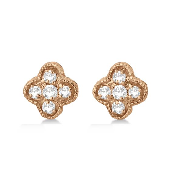 Diamond Flower Cluster Stud Earrings 14K Rose Gold (0.15ct)