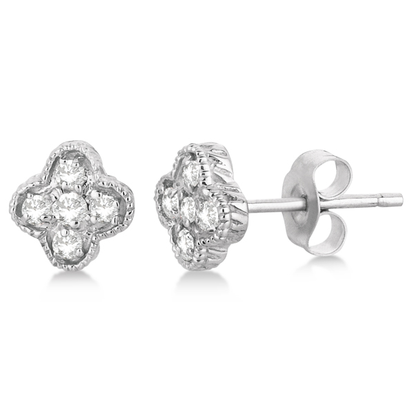 Diamond Flower Cluster Stud Earrings 14K White Gold (0.15ct)