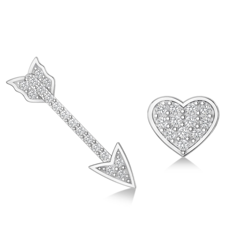 Heart & Arrow Diamond Mismatched Earrings 14k White Gold (0.21ct)
