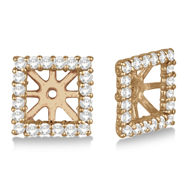 Square Diamond Earring Jackets Pave-Set 14k Rose Gold (0.46ct)