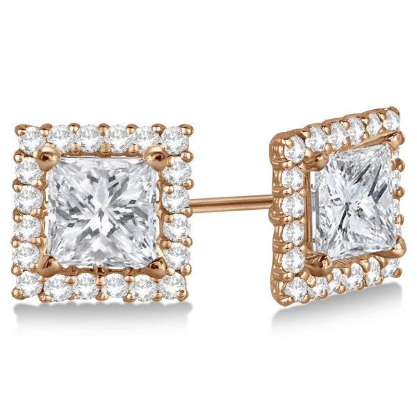 Square Diamond Earring Jackets Pave-Set 14k Rose Gold (0.77ct)