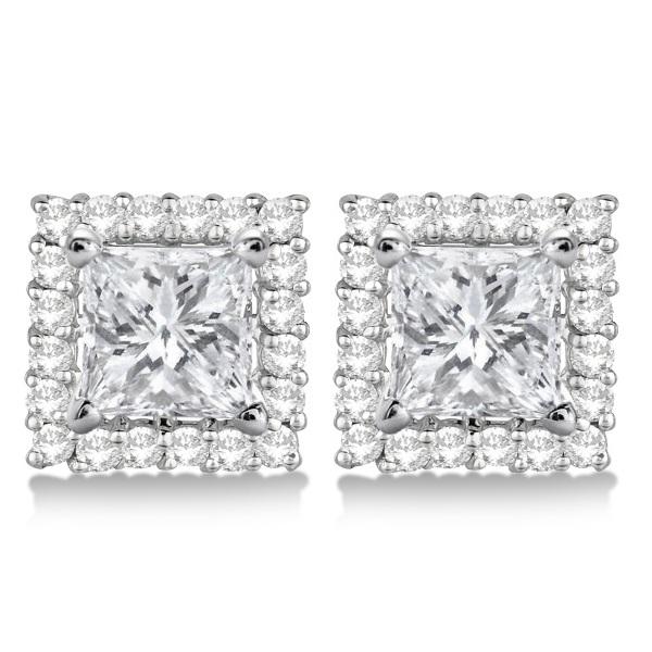 Square Diamond Earring Jackets Pave-Set 14k White Gold (0.46ct)