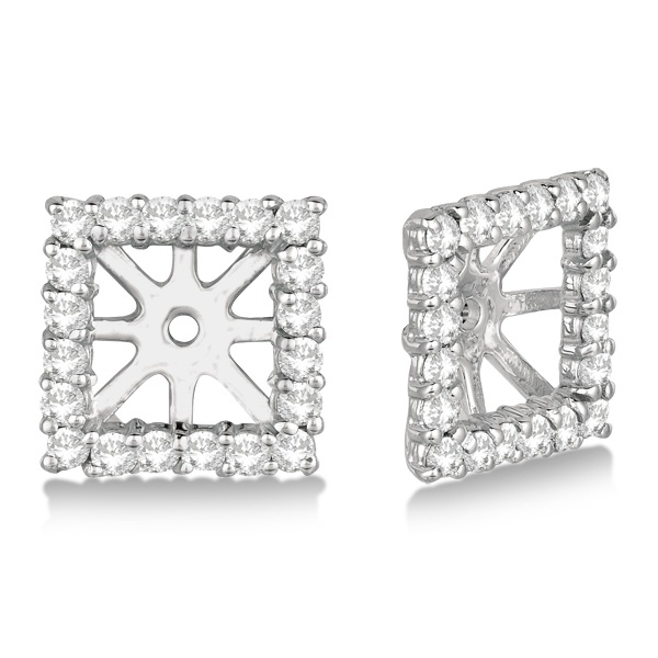 Square Diamond Earring Jackets Pave-Set 14k White Gold (0.77ct)