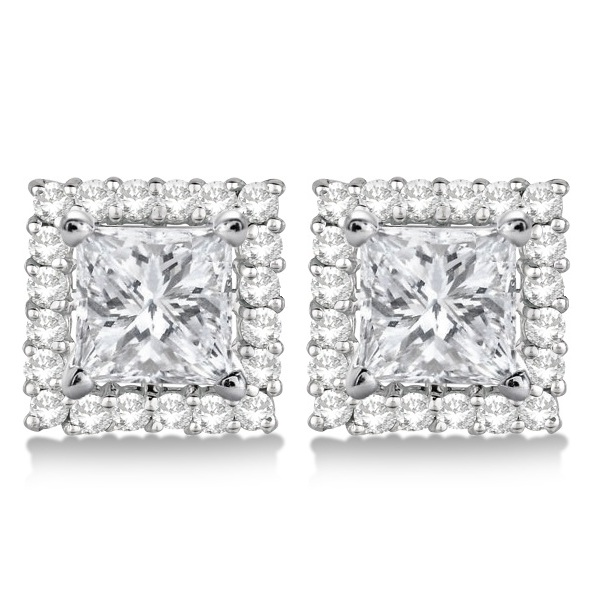 Square Diamond Earring Jackets Pave-Set 14k White Gold (1.01ct)