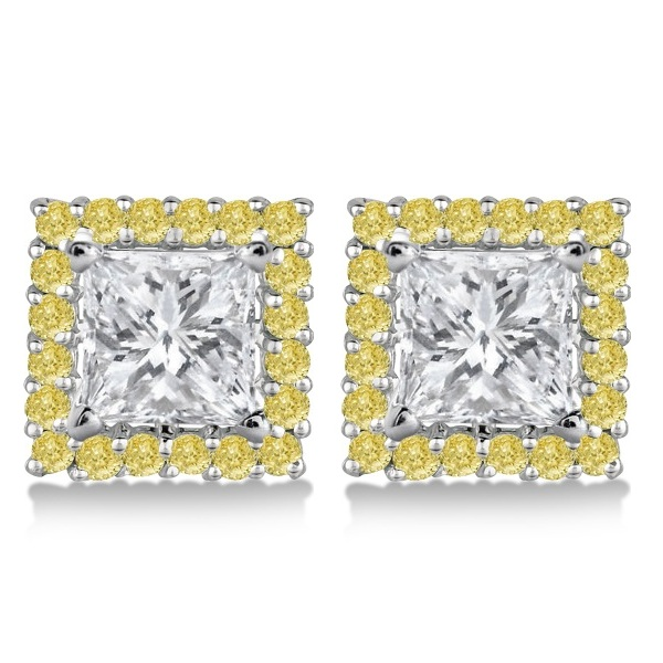 Yellow Canary Diamond Square Earring Jackets 14k White Gold (0.55ct)