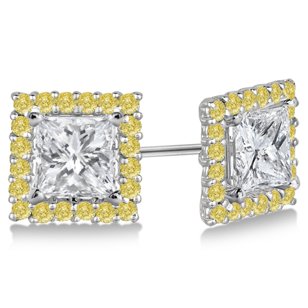 271d93ab6100b7 Square Yellow Canary Diamond Earring Jackets 14k White Gold 1.01ct - IE407
