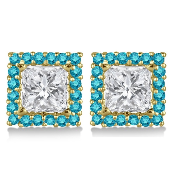 Square Blue Diamond Earring Jackets Pave-Set 14k Yellow Gold (0.67ct)