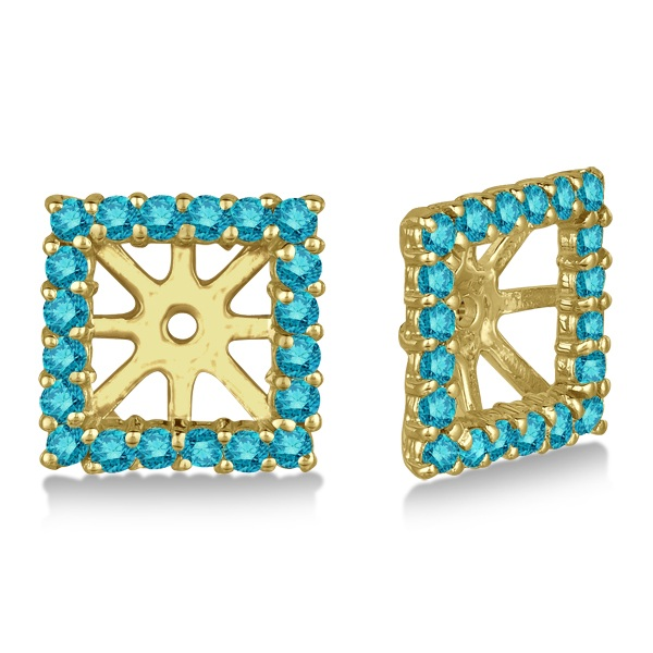 Square Blue Diamond Earring Jackets Pave-Set 14k Yellow Gold (0.77ct)