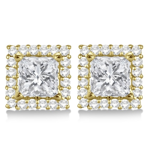 Square Diamond Earring Jackets Pave-Set 14k Yellow Gold (0.50ct)