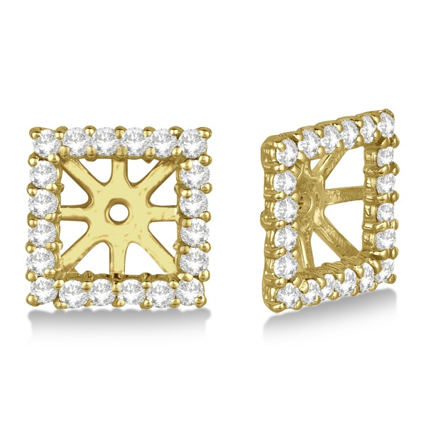 Square Diamond Earring Jackets Pave-Set 14k Yellow Gold (0.67ct)