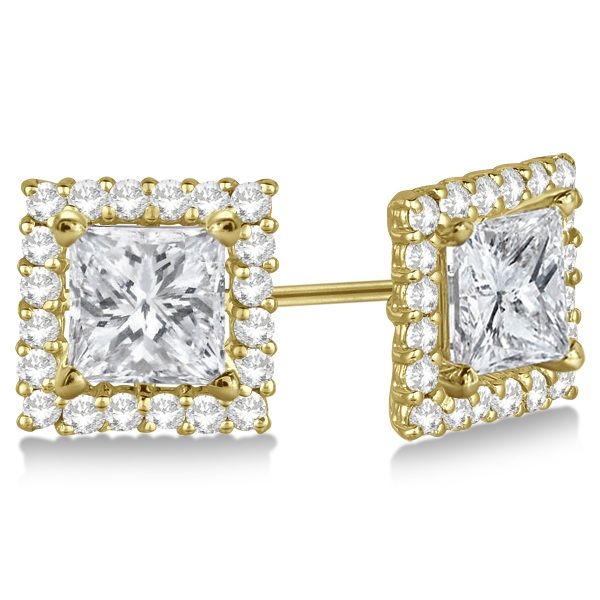 Square Diamond Earring Jackets Pave-Set 14k Yellow Gold (0.77ct)