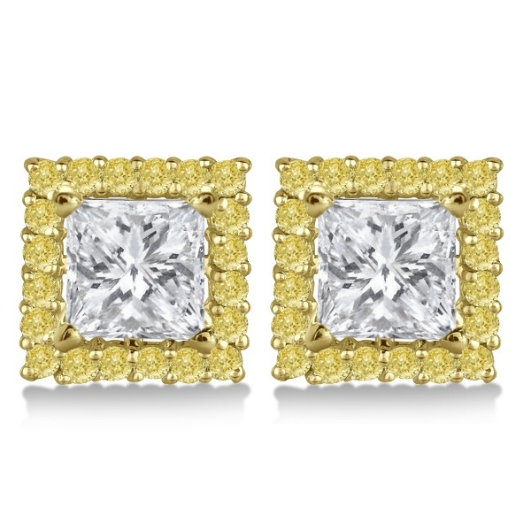 Square Yellow Canary Diamond Earring Jackets 14k Yellow Gold (0.46ct)