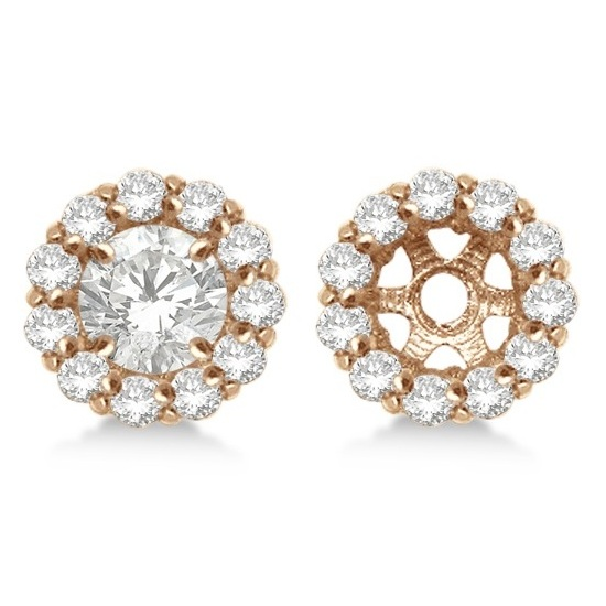Round Diamond Earring Jackets for 7mm Studs 14K Rose Gold (0.90ct)