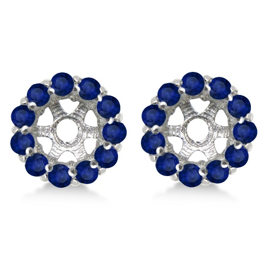 Round Blue Sapphire Earring Jackets 4mm Studs 14K White Gold (0.96ct)