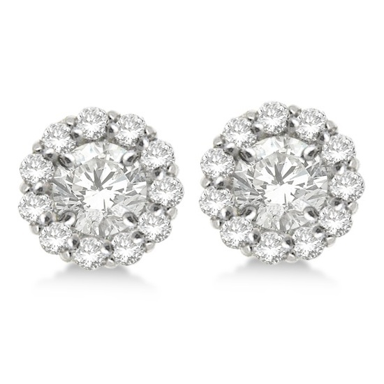Round Diamond Earring Jackets for 4mm Studs 14K White Gold (0.64ct)